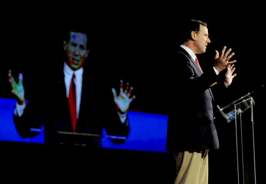 Republican presidential candidate Rick Santorum speaks at First Baptist Church in Bossier City, La., on Sunday, March 18, 2012 (AP Photo/The Times, Val Horvath Davidson)