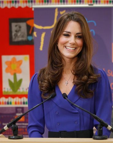 Britain's Duchess of Cambridge makes a speech during a March 19, 2012, visit to the formal opening of the Treehouse in Ipswich, England. The Treehouse is a c