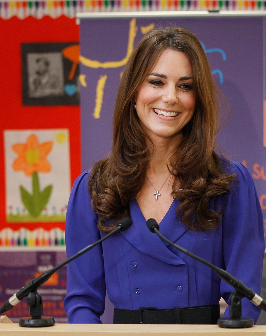 Britain's Duchess of Cambridge makes a speech during a March 19, 2012, visit to the formal opening of the Treehouse in Ipswich, England. The Treehouse is a children's hospice service for Suffolk and Essex. (Associated Press)