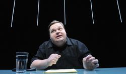"""Mike Daisey's claims about working conditions in China in his one-man show, """"The Agony and The Ecstasy of Steve Jobs,"""" created a firestorm. He has since admitted the work is a mix of fact and fiction. (The Public Theater via Associated Press)"""