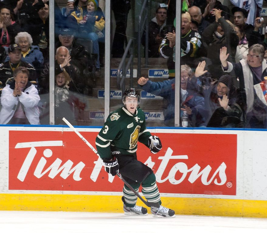 Fans of the London Knights are known for treating the players like family. Here, they erupt with glee after a goal by defenseman Brett Cook during a March 3 game against the Ottawa 67's at John Labatt Centre. (Craig Glover/Special to The Washington Times)