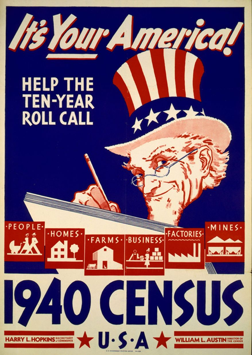 """Posters like this one urged Americans to cooperate with census takers. Results from the 1940 census will be released on April 2, offering a """"gold mine"""" of data on Depression-era America. (Library of Congress via Associated Press)"""