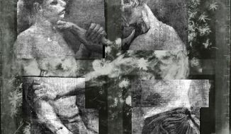 "This X-ray shows an underlying image of two wrestlers on a painting titled ""Still Life With Meadow Flowers and Roses"" by Vincent van Gogh. It has uncovered in greater detail an art school study by van Gogh of two wrestlers concealed on the same canvas and invisible to the naked eye. (Associated Press)"