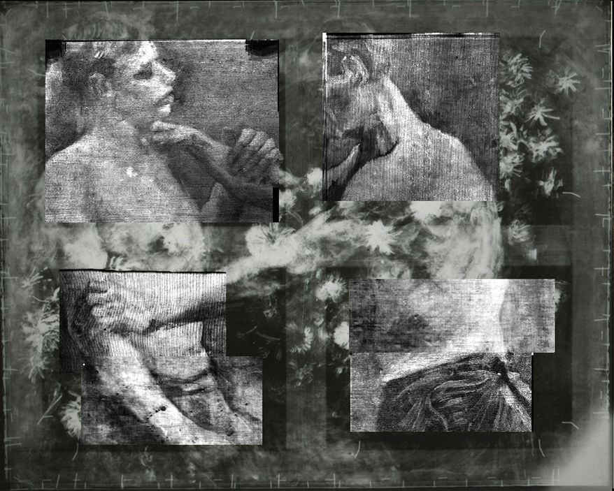 """This X-ray shows an underlying image of two wrestlers on a painting titled """"Still Life With Meadow Flowers and Roses"""" by Vincent van Gogh. It has uncovered in greater detail an art school study by van Gogh of two wrestlers concealed on the same canvas and invisible to the naked eye. (Associated Press)"""