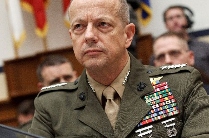 Marine Gen. John Allen tells skeptical lawmakers on Capitol Hill on Tuesday, March 20, 2012, that the war in Afghanistan is winding down. (Associated Press)