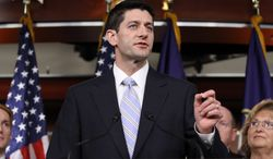 Rep. Paul Ryan, Wisconsin Republican, speaks about his budget plan during a news conference on Capitol Hill in Washington on Tuesday, March 20, 2012. (AP Photo/Jacquelyn Martin)
