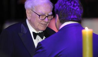 Warren Buffett attends the State Dinner with President Barack Obama and British Prime Minister David Cameron at the White House in Washington, Wednesday, March 14, 2012. (AP Photo/Susan Walsh)