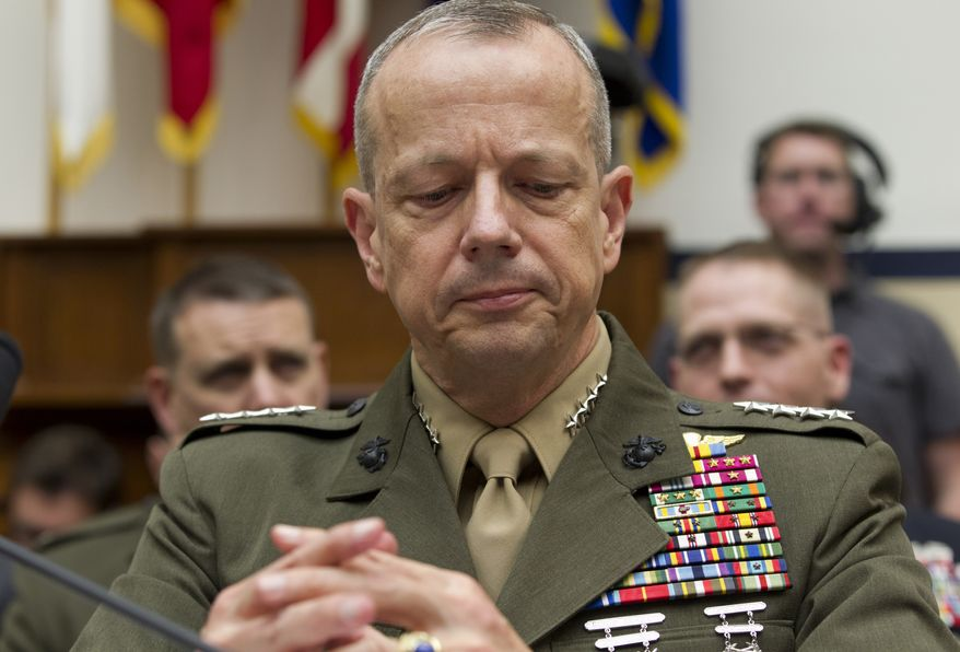 Marine Gen. John R. Allen, the top U.S. commander in Afghanistan, testifies on Capitol Hill in Washington on Tuesday, March 20, 2012, before the House Armed Services Committee. (AP Photo/J. Scott Applewhite)