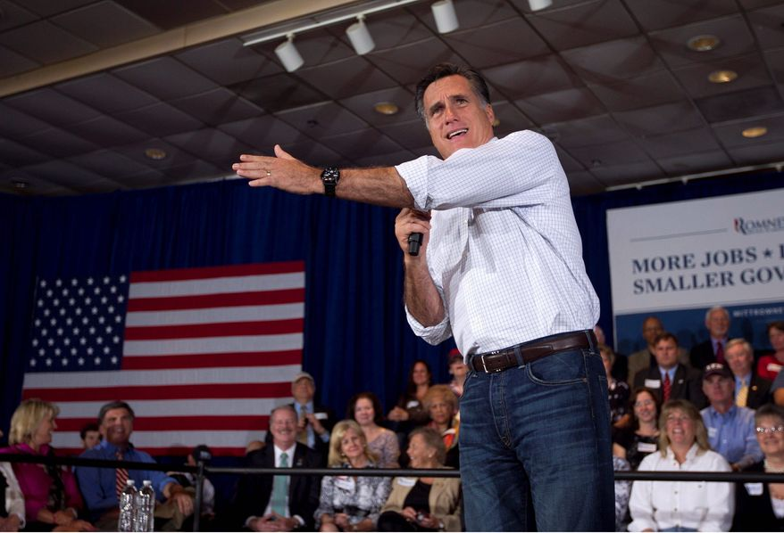 Former Massachusetts Gov. Mitt Romney, a GOP presidential hopeful, addresses an audience during a campaign stop at an American Legion post in Arbutus, Md., on Wednesday. (Associated Press)