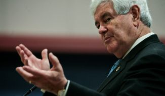 Republican presidential candidate and former House Speaker Newt Gingrich speaks at a town hall meeting in the Student Center at Louisiana Tech University in Ruston, La., on Tuesday, March 20, 2012. (AP Photo/The News-Star, Ben Corda)