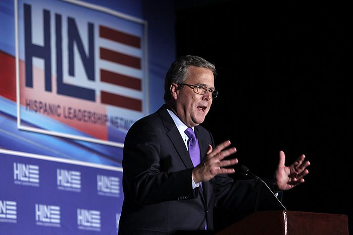 ** FILE ** Former Florida Gov. Jeb Bush speaks at the Hispanic Leadership Network conference on Thursday, Jan. 26, 2012, in Miami. (AP Photo/Wilfredo Lee)