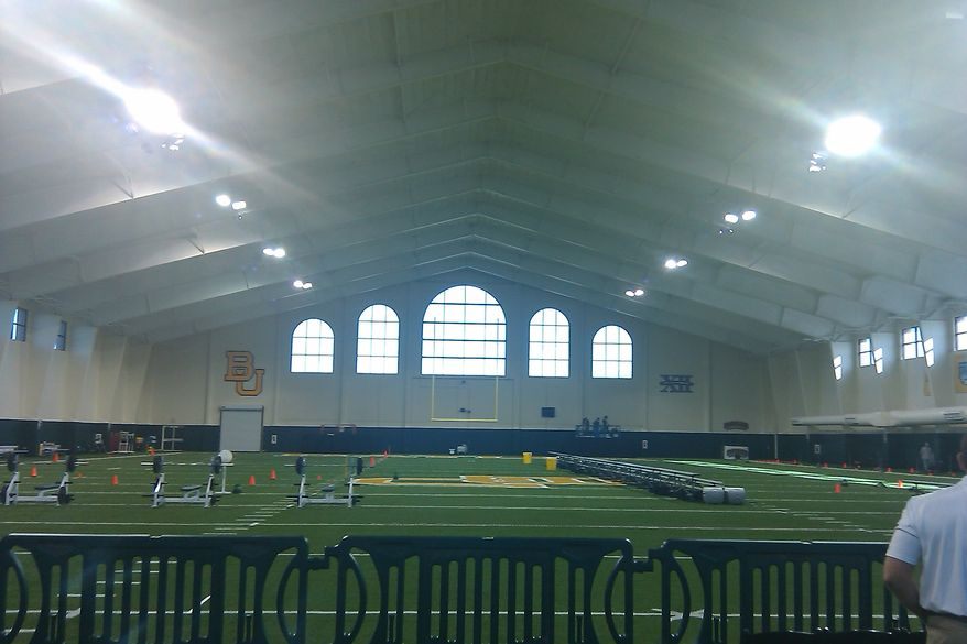 Inside Baylor's indoor football practice facility. (Rich Campbell)