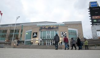 Fans trickle into the John Labatt Centre to watch their hometown junior hockey club, the London Knights, play against the visiting Ottawa 67's, in London, Ontario, Canada on Saturday March 3, 2012. (Craig Glover/Special to The Washington Times)