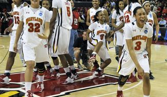 Maryland women's basketball team celebrates after defeating Louisville 72-68 in an NCAA tournament second-round game, Monday, March 19, 2012, in College Park, Md. Maryland won 72-68. (AP Photo/Gail Burton)