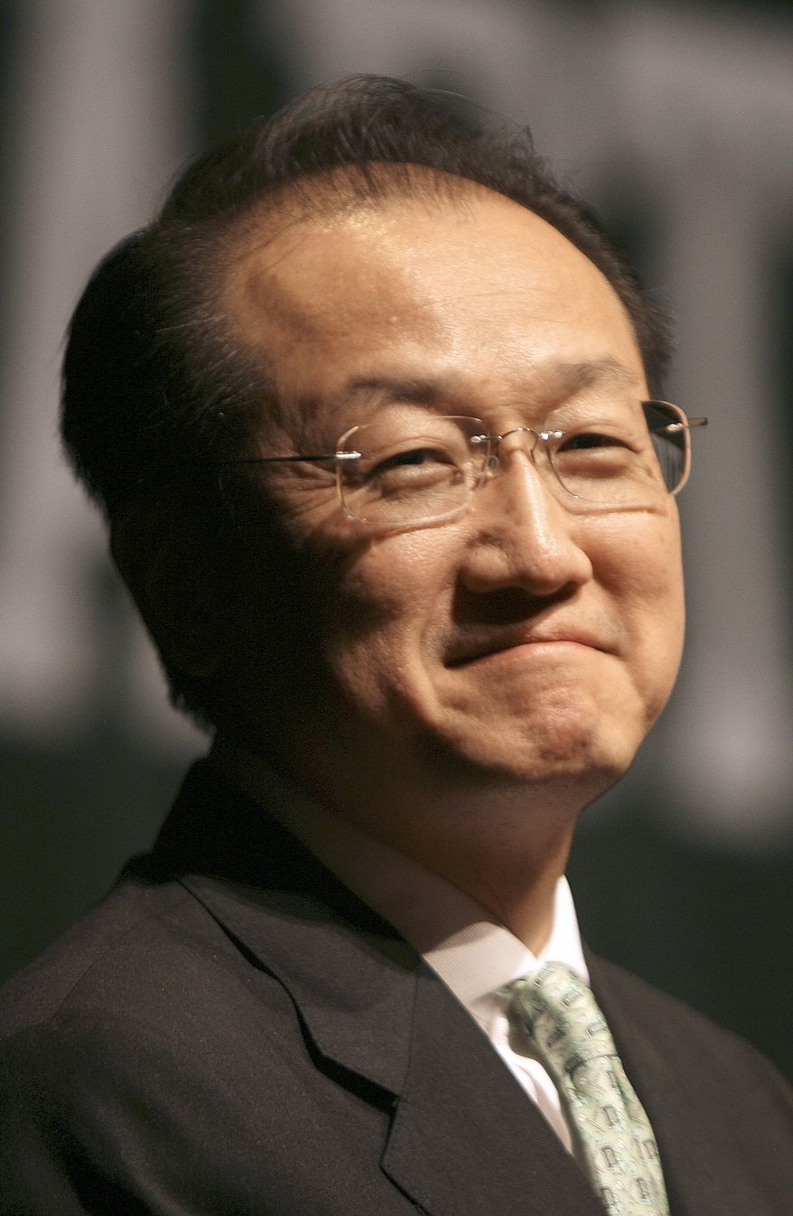**FILE** Dr. Jim Kim is introduced as the next president of Dartmouth College in Hanover, N.H., on March 2, 2009. (Associated Press)