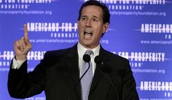 Republican presidential candidate Rick Santorum speaks at the AFP Defending the Dream Conference in Milwaukee on Saturday, March 24, 2012. (AP Photo/Jae C. Hong)