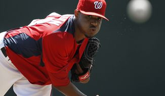Washington Nationals starting pitcher Edwin Jackson, typically a pitcher who never has a strong ERA in spring training, has a 6.32 mark this March.(AP Photo/Paul Sancya)