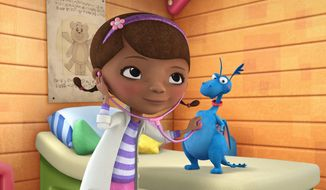 """**FILE** In this image released by Disney Junior, the character Doc McStuffins is shown with Stuff in a scene from Disney Junior's animated series """"Doc McStuffins."""" The show, about a six-year-old girl who runs and operates a clinic for broken toys and worn out stuffed animals out of the playhouse in her backyard, debuted March 23 on the new 24-hour Disney Junior channel. (Associated Press/Disney Junior)"""