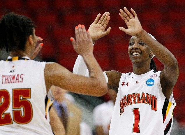 Maryland's Alyssa Thomas and Laurin Mincy had plenty of reason to smile after the Terrapins wiped out an 18-point deficit in their 81-74 win over Texas A&M and advanced to the NCAA women's F