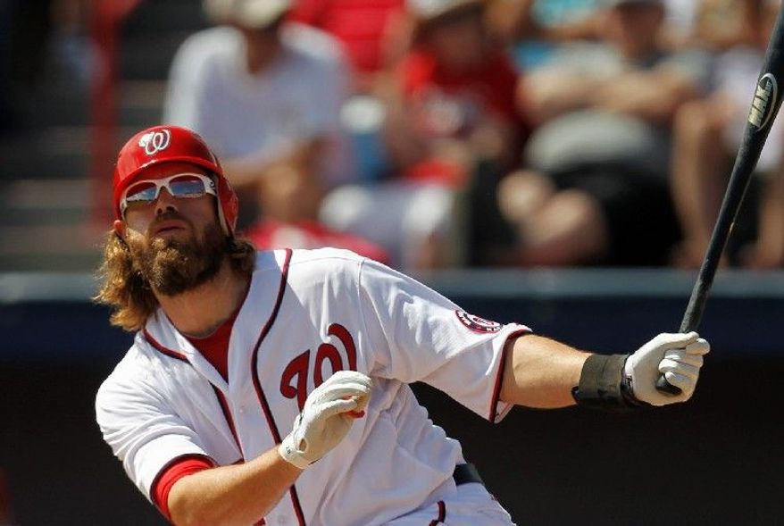 Jayson Werth made his rehab debut with the Potomac Nationals on Saturday and went 1-for-3 with an RBI. (Associated Press)