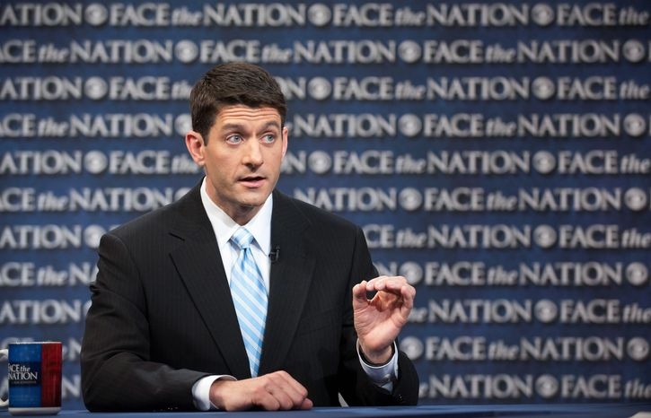 """This is a sharp, clear difference with two different futures,"" House Budget Chairman Paul Ryan, Wisconsin Republican, said Sunday on CBS's ""Face the Nation"" of the debt-slashing GOP budget plan. It would slice $5.3 billion from President Obama's budget in the coming decade through tax reforms an"