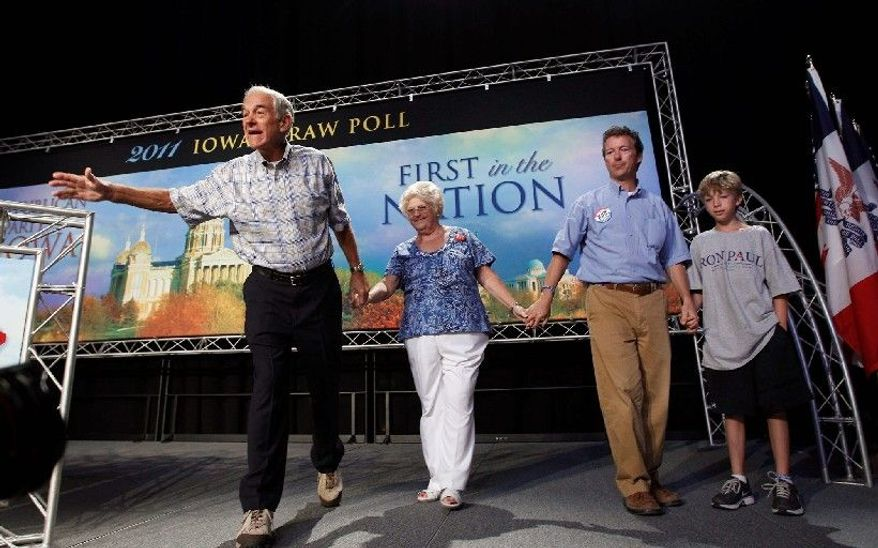 """Numerous relatives of Rep. Ron Paul, Texas Republican, received salaries out of campaign funds and money raised by his political action committee also was used to reimburse Mr. Paul for travel, gifts, flags and food, according to a report by the Citizens for Responsibility and Ethics in Washington. The press secretary for Mr. Paul, who is shown in Iowa in August, called the report """"a sad attempt ... to grab cheap headlines.""""  (Associated Press)"""