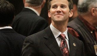 Rep. Aaron Schock, Illinois Republican, reimbursed himself from his campaign fund for more than $150,000 in expenses, including $30,000 in hotel bills. The congressman paid back money for a trip to Athens.  (Associated Press)