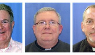 Monsignor William Lynn of Philadelphia (center) goes on trial Monday charged with endangering children by failing to remove accused predators from ministry. The Rev. James J. Brennan (right) also goes on trial while former priest Edward V. Avery (left) pleaded guilty last week to sex-abuse charges. (Associated Press)