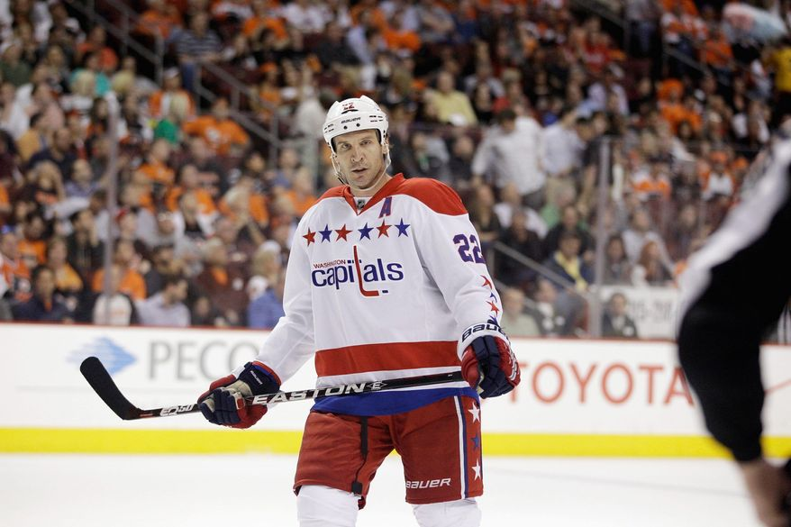 Washington Capitals' Mike Knuble during an NHL hockey game against the Philadelphia Flyers, Thursday, March 22, 2012, in Philadelphia. (AP Photo/Matt Slocum)