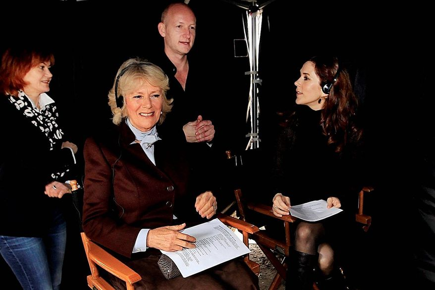 "Britain's Duchess of Cornwall (second from left) and Danish Crown Princess Mary (right) on Tuesday visit the set of the Danish TV drama ""The Killing"" in Lynge. (Polfoto via Associated Press)"
