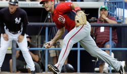 Nationals infielder Steve Lombardozzi has been given timse in the outfield to afford him experience at different positions. (Associated Press)