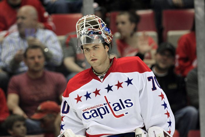 Washington Capitals goalie Braden Holtby allowed three goals on 18 shots his team's 5-1 loss to the Buffalo Sabres on Tuesday night. (AP Photo/Carlos Osorio)