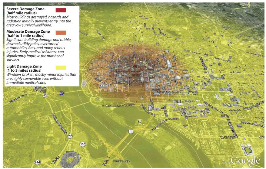 This map, released by the Federal Emergency Management Agency, is contained in a report from a study that analyzed the likely effects from terrorists setting off a 10-kiloton nuclear device a few blocks north of the White House. The map shows a summary of severe, moderate and light damage zones, and types of damage or injuries likely to be encountered by responders. (AP Photo/FEMA)