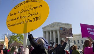 Protesters on both sides of the issue march outside of the Supreme Court in Washington, D.C., on Tuesday, March 27, 2012, while the court decides on the personal mandate part the health care law signed by President Obama. (Barbara L. Salisbury/The Washington Times)