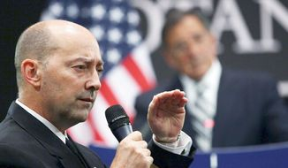 Navy Adm. James G. Stavridis, NATO's top military commander, says the expectation of having more than 350,000 Afghan security force members in service by summer puts the turnover ahead of schedule. (Associated Press)