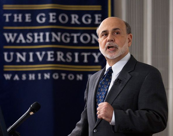 """""""The Great Depression informed the Fed's actions and decisions in the recent crisis,"""" Fed Chairman Ben S. Bernanke said at George Washington University, noting the Fed's multiple missteps during the 1930s in failing to stem the financial panics, bank runs and economic downspiral that created such desperate conditions. (Associated Press)"""