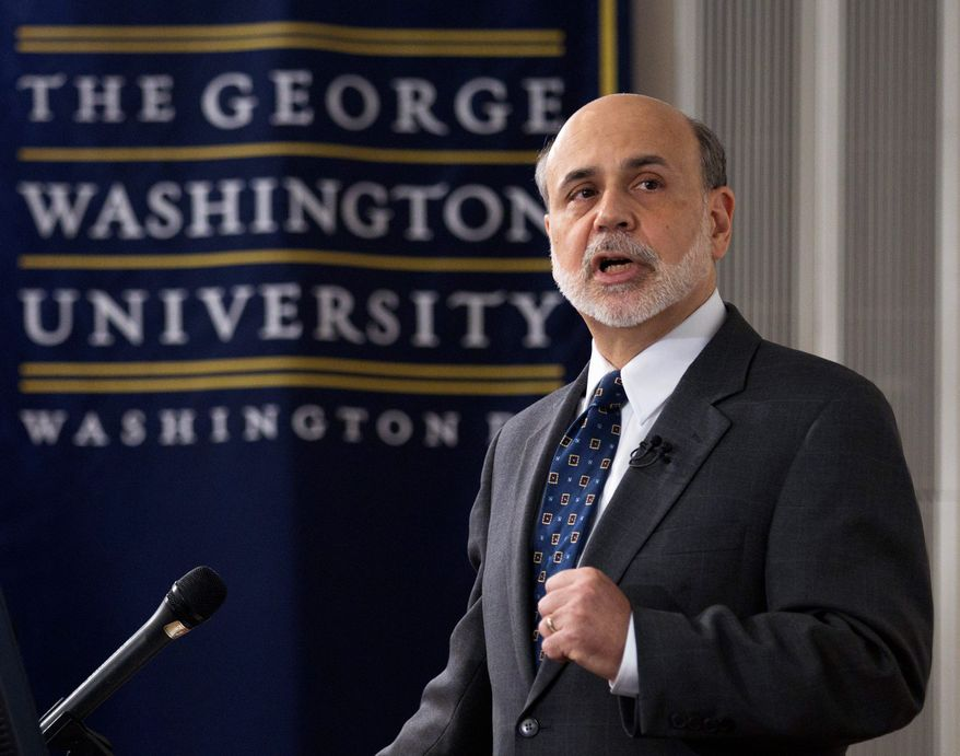 """The Great Depression informed the Fed's actions and decisions in the recent crisis,"" Fed Chairman Ben S. Bernanke said at George Washington University, noting the Fed's multiple missteps during the 1930s in failing to stem the financial panics, bank runs and economic downspiral that created such desperate conditions. (Associated Press)"