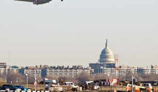As planes take off from Ronald Reagan Washington National Airport, lawmakers on nearby Capitol Hill are arguing for an Article 84 court challenge against EU fees for carbon emissions. (Associated Press)