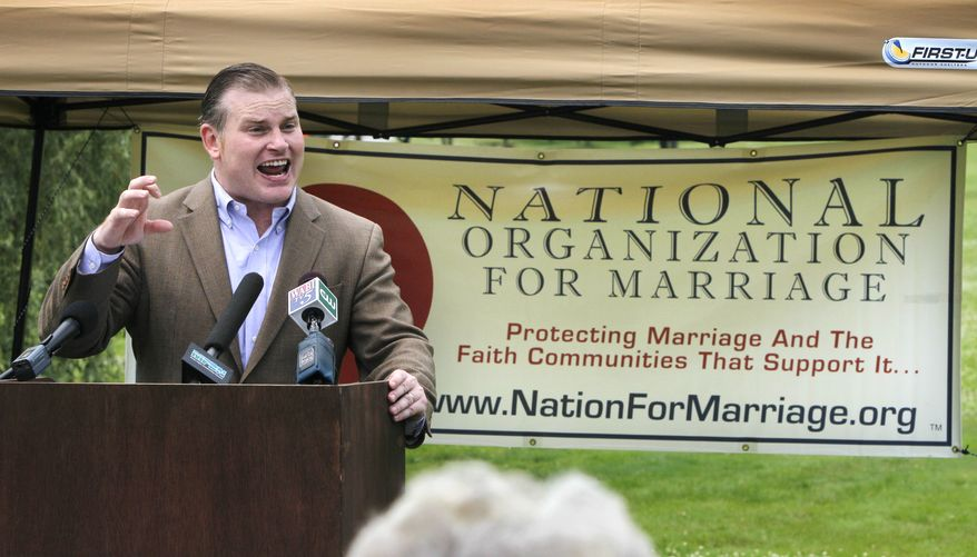 ** FILE ** Brian Brown, president of the National Organization for Marriage, speaks at a rally for opponents of same-sex marriage in Augusta, Maine, in August 2010. (AP Photo/Robert F. Bukaty)