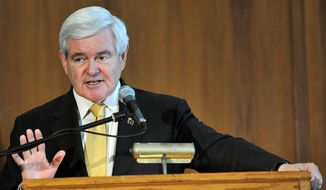 Republican presidential candidate Newt Gingrich speaks during a campaign stop at Salisbury University on Tuesday, March 27, 2012, in Salisbury, Md. (AP Photo/The Daily Times, Laura Emmons)