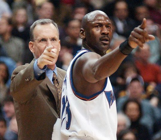 Doug Collins coached Michael Jordan for three seasons in Chicago, and the two were reunited in Washington for the 2001-02 and 2002-03 campaigns. (The Washington Times)