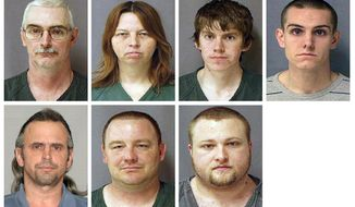 ** FILE ** Photos provided in 2010 by the U.S. Marshals Service show (clockwise from top left) David Stone of Lenawee County, Mich.; his wife, Tina Stone; sons David Stone Jr. and Joshua Stone; Kris Sickles of Sandusky, Ohio; Michael Meeks of Manchester, Mich.; and Thomas Piatek of Whiting, Ind. The seven, who were members of a Michigan militia, were accused of plotting war against the United States, but a federal judge dismissed the most serious charges against them on Tuesday, March 27, 2011, saying their expressed hatred of law enforcement didn't amount to conspiracy against the government. (AP Photo/U.S. Marshals Service)