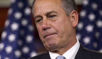 House Speaker John Boehner, Ohio Republican, takes questions March 29, 2012, during a news conference on Capitol Hill. (Associated Press)