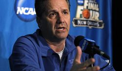 Kentucky coach John Calipari talks to reporters during a news conference in New Orleans on Thursday, March 29, 2012. Kentucky will play Louisville in an NCAA tournament Final Four game on Saturday. (AP Photo/Gerald Herbert)