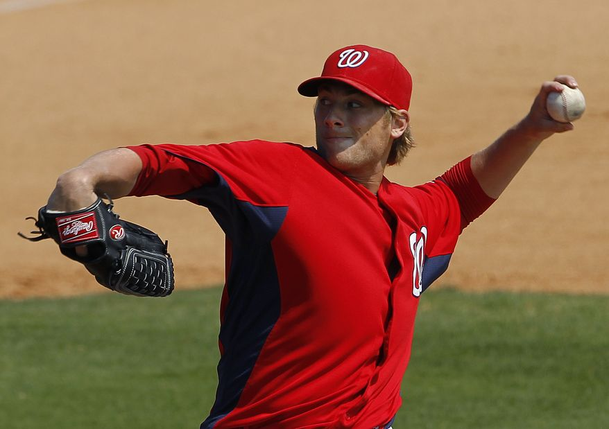 Washington Nationals pitcher Ross Detwiler tossed five innings and allowed one run as the starter versus the Miami Marlins on Friday night. (AP Photo/Paul Sancya)