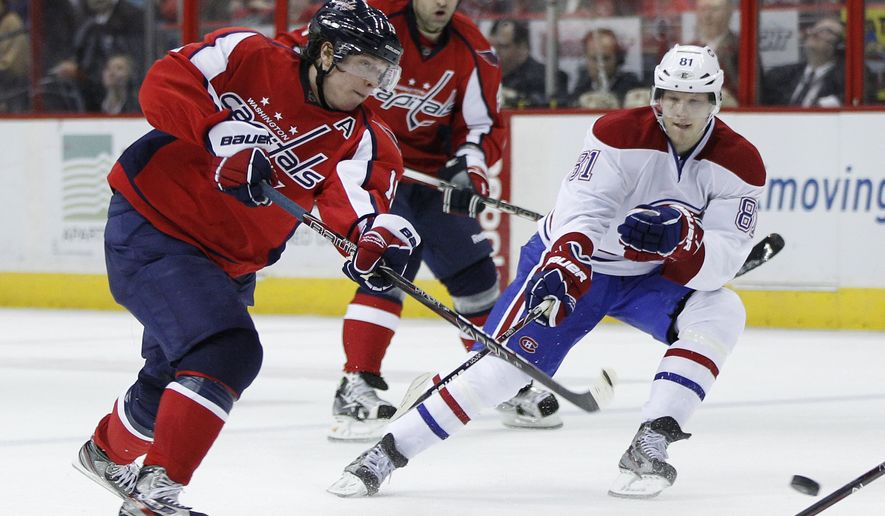 Washington Capitals center Nicklas Backstrom returned to the lineup after a 40-game absence, playing 19:38 with a minus-1 rating. His biggest effect was the energy boost surrounding his return as the Capitals defeated the Canadiens 3-2 in a shootout. (AP Photo/Evan Vucci)
