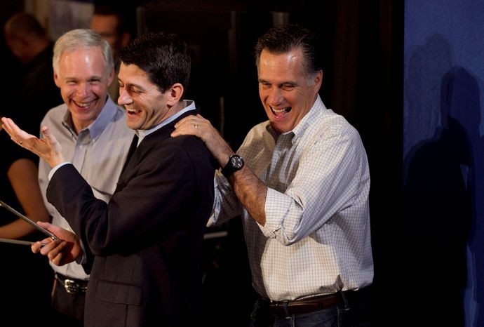 Mitt Romney was an April fool when he was surprised by an empty room in Milwaukee. His staff members had gathered supporters in another room upstairs. Mr. Romney shared the story once he made it to the right room. (Associated Press)
