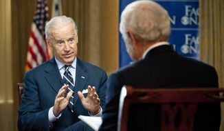 "Vice President Joe Biden responds to a question from Bob Schieffer, host of the CBS Sunday-morning program ""Face the Nation,"" during an interview recorded on Thursday, March 29, 2012, in Milwaukee. (AP Photo/CBS News, Chris Usher)"