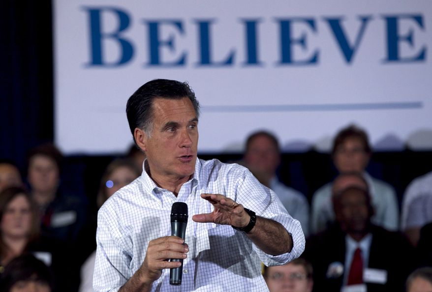 Republican presidential candidate and former Massachusetts Gov. Mitt Romney speaks April 1, 2012, to a crowd at a town-hall style campaign event in Madison, Wis. (Associated Press)