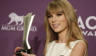 **FILE** Taylor Swift poses backstage April 1, 2012, with the award for entertainer of the year at the 47th Annual Academy of Country Music Awards in Las Vegas. (Associated Press)
